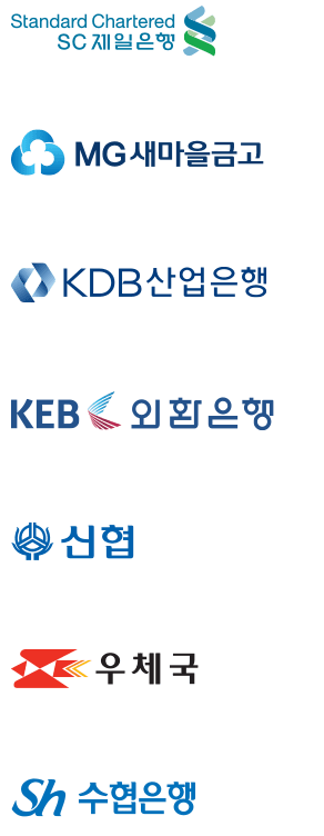 partner banks : Standard Chartered First Bank, Korea Federation of Community Credit Cooperative, Korea Development Bank, Korea Exchange Bank, National Credit Union Federation of Korea, Post Office, National Federation of Fisheries Cooperative